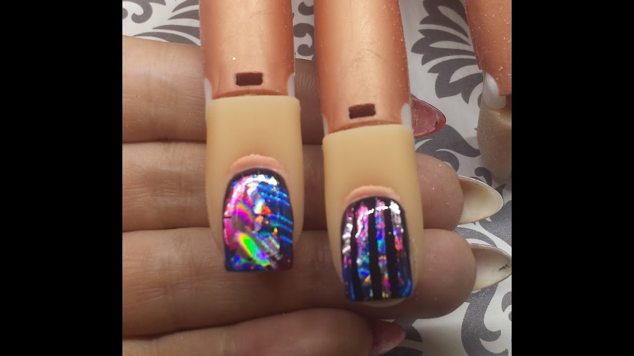Nail art tutorial transfer foil over gel polish youtube prinsesfo Images