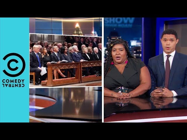 George Bush Sr's Awkward Funeral Seating Arrangement   The Daily Show With Trevor Noah