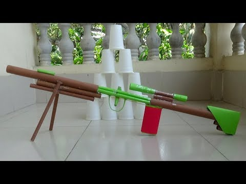 Sniper Rifle Toy Made With Paper That Shoots Rubber Band - Paper Gun Tutorial for Kids