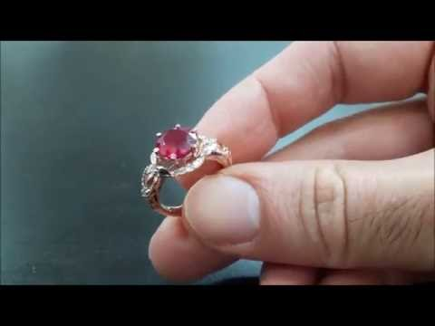 Rose Gold Red Ruby Engagement Ring Pigeon Blood