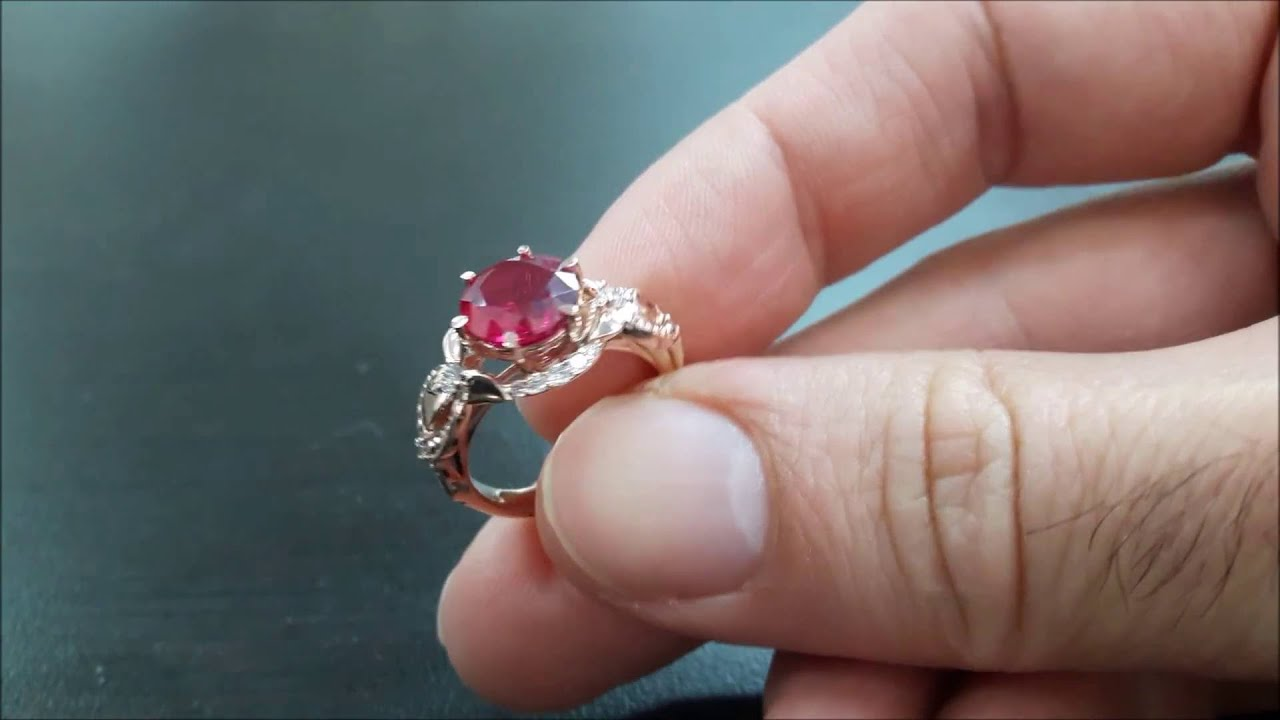 14K Rose Gold Red Ruby Engagement Ring Pigeon Blood Red