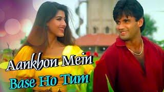 Aankhon Mein Base Ho Tum With Lyrics | Sunil Shetty | Sonali Bendre | Takkar (1995)
