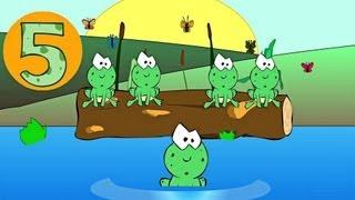 Five Little Speckled Frogs Nursery Rhyme - Classic Nursery Rhymes Video for Kids