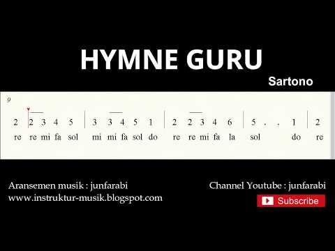 Not Angka Hymne Guru / Pahlawan Tanpa Tanda Jasa - Do = C Mayor - Lagu Wajib Nasional - Solmisasi