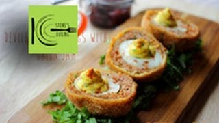Deviled Scotch Eggs With Onion Jam (stevescooking)