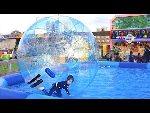 FUN IN GIANT BUBBLE BALL! Walking On Water in  SWIMMING POOL
