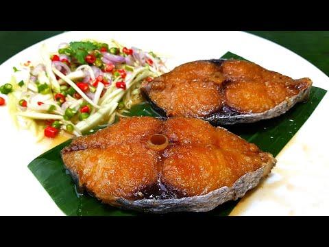 กับข้าวกับปลาโอ 840 ปลาอินทรีย์ทอดน้ำปลา ยำมะม่วง Fried fish wish fish sauce