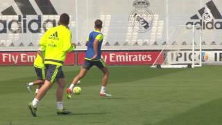 Bale, Benzema and Cristiano train together with the squad