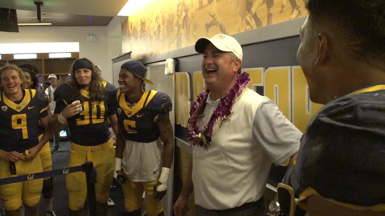 Cal Football Locker Room Celebration Grambling State Win
