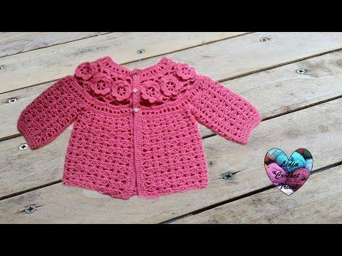 ... bEbE ? fleurs crochet 1 / baby sweaters flowers crochet 1 - YouTube