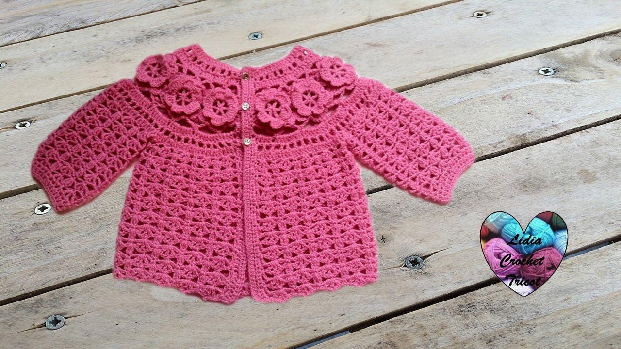 Brassiere Bebe A Fleurs Crochet 1 3 Baby Sweaters Flowers Crochet