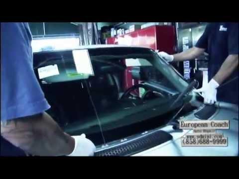 Installing a windshield on a MINI Cooper - European Coach Auto Repair