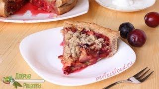 Пирог со сливами на песочном тесте - рецепт постный
