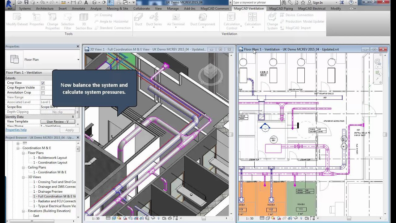 Enhancing The Power Of Revit Mep Magicad Ductwork Calculation Tool Hvac Drawing Tools