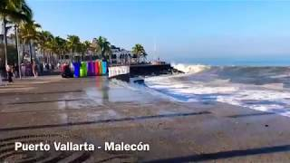 Fuertes olas en  puerto vallarta mexico ultimas horas parese un tsunami de baja categoria 2018 valla