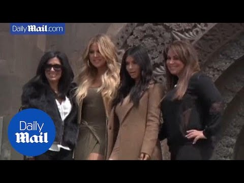 Fans go wild as Kim and Khloe take in sights of Armenia - Daily Mail