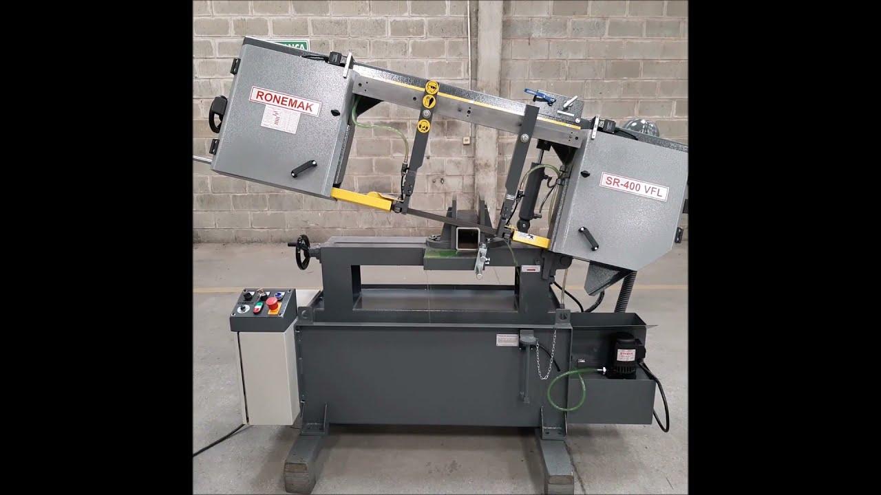Teste de corte em máquina serra de fita horizontal SR 400 VFL