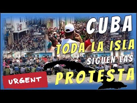 En cuba SIGUEN en las calles las protestas el pueblo los cubanos HOY PIDEN LIBERTAD y PATRIA Y VIDA