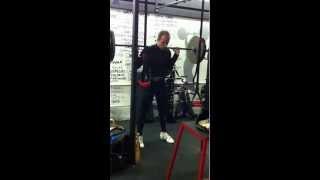 Denis Vasilev doing his squat assistance after his workout