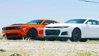 homepage tile video photo for Head 2 Head FULL EPISODE | Dodge Challenger Hellcat Widebody vs Chevrolet Camaro ZL1—Episode 105