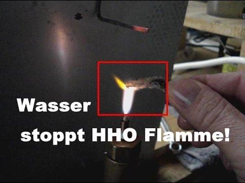 Versuch Experient mit Wasser, Wasser stoppt HHO Flamme!