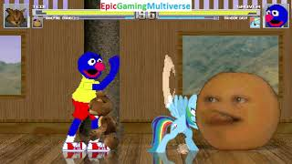 Tedi The Robotic Teddy Bear And Annoying Orange VS Grover And Rainbow Dash In A MUGEN Match / Battle