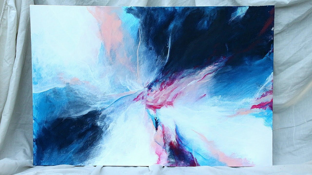 Abstract Painting Blue Pink White
