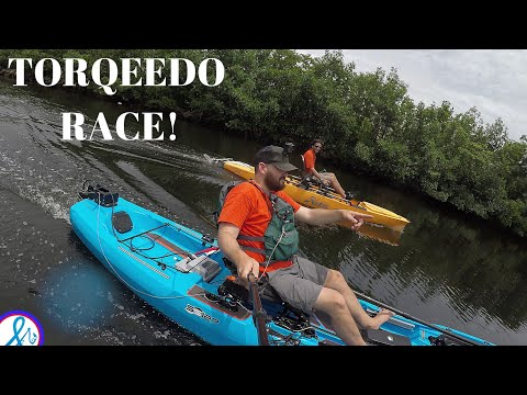 SPEED RACE! Hobie Pro Angler 14 Vs Bonafide SS127 TORQEEDO 403 ULTRALIGHT