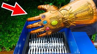 tHANOS INFINITY GAUNTLET VS SHREDDING MACHINE!