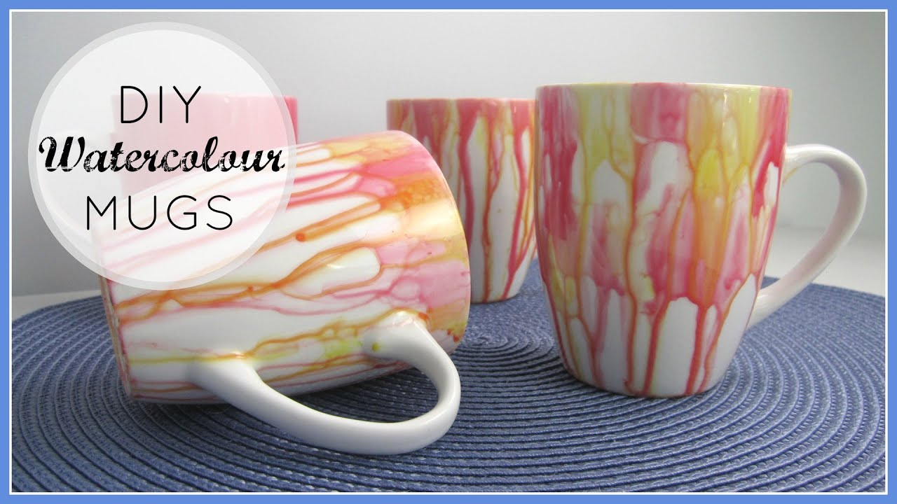 DIY Decor Gifts Watercolour Mugs YouTube