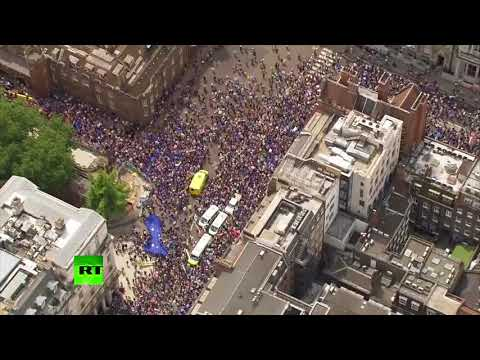 Drone footage: Massive march in London on Brexit referendum 2nd anniversary