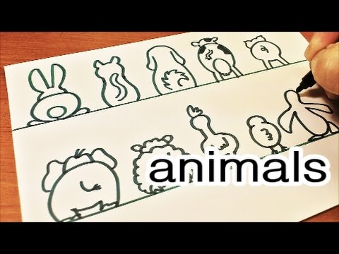 Art Collab With Sarah!  How To Draw Cute And Easy 10 Animal's Back Doodles | Doodle With Me