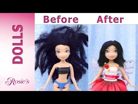 Disney Fairy Silvermist Makeover -  Hair Repair and New Dress