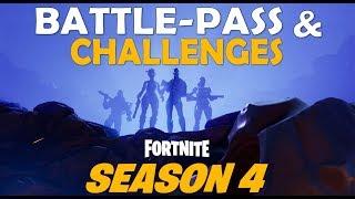 ALL SEASON 4 BATTLE PASS SKINS & CHALLENGE REWARDS - (Fortnite Battle Royale)