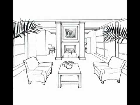 One point perspective drawing of living room for Living room 2 point perspective