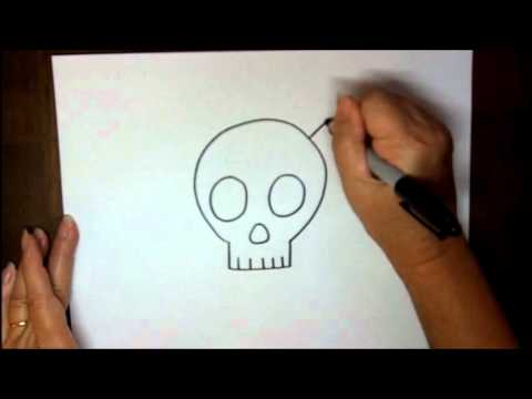 How to Draw a Skull and Crossbones Step by Step Simple Cartoon Easy Drawing Lesson