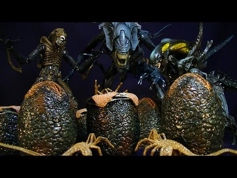 NECA ALIEN EGGS 6 PACK (WITH 3 FACEHUGGERS) - LV-426 CAGED FREE XENOMORPH FIGURE REVIEW