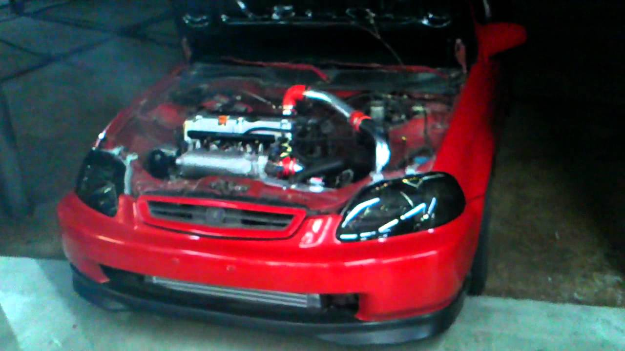 k20 swap boosted first start up. - YouTube