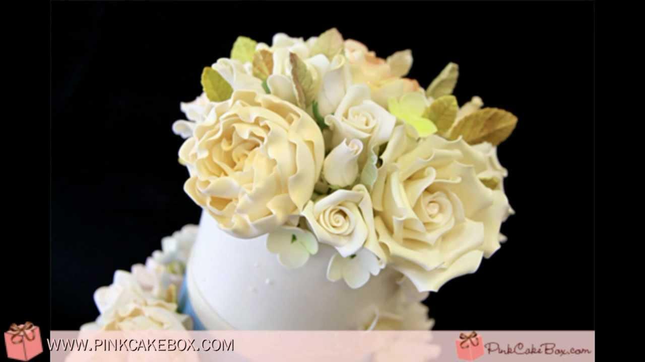 Rose & Hydrangea Wedding Cake - YouTube