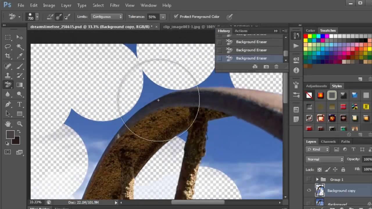 Cách xóa nền ảnh trong Photoshop sử dụng công cụ Eraser Background
