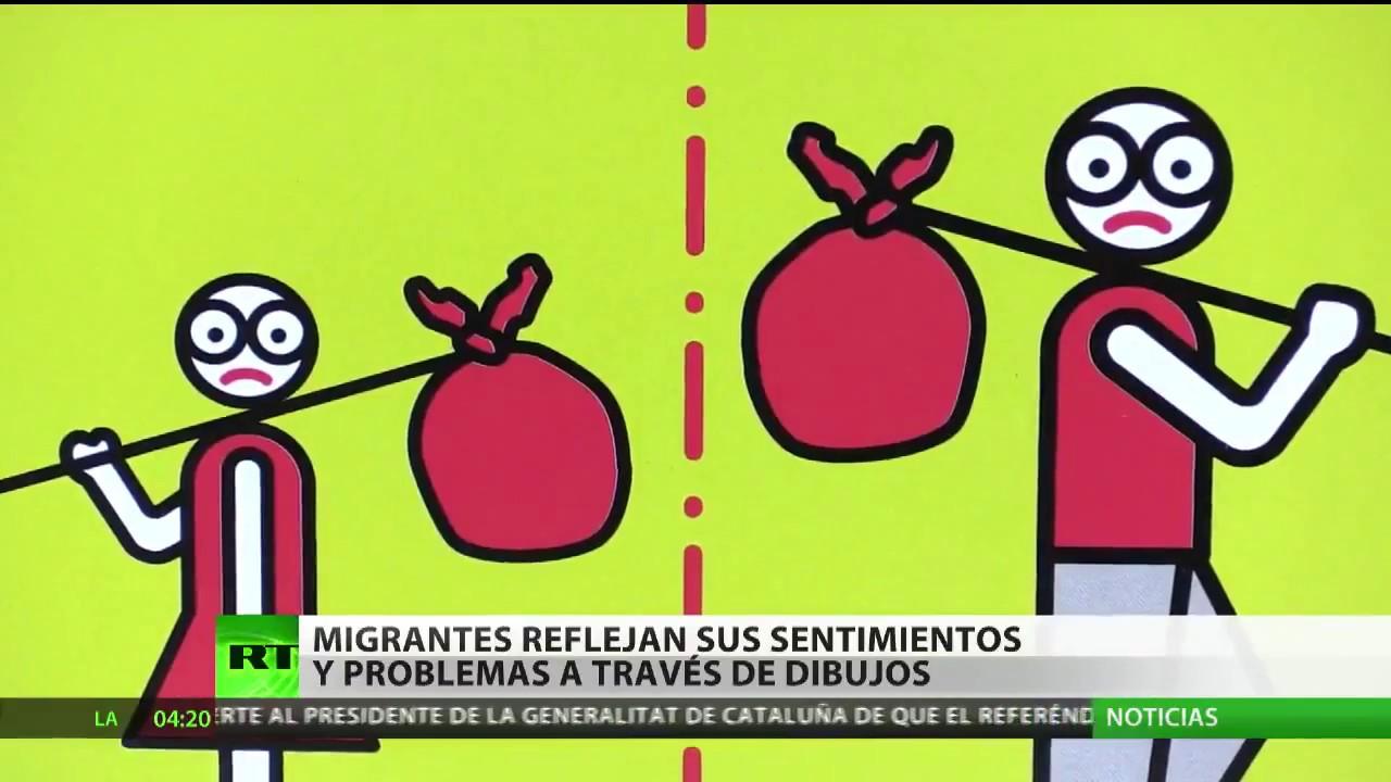 Migrantes Reflejan Sus Sentimientos Y Problemas Con Dibujos Que Divulgan Por Las Calles De Berlín