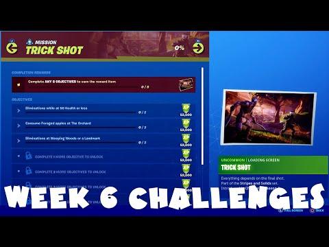 ALL Week 6 Chapter 2 Season 1 Challenges Guide - Trick Shot - Fortnite Battle Royale