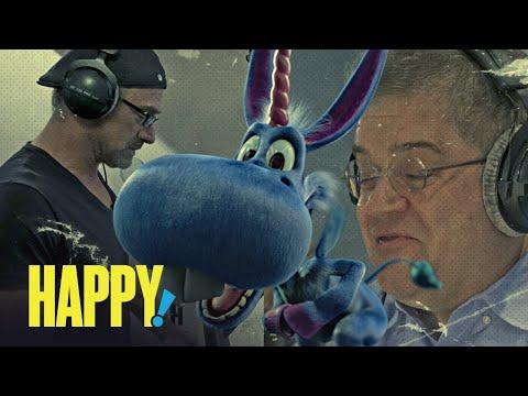 Christopher Meloni threatens a stuffed rabbit in Happy! season 2 BTS clip