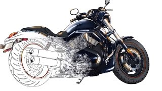 How to draw Harley-Davidson motorcycle from scratch. HD Video