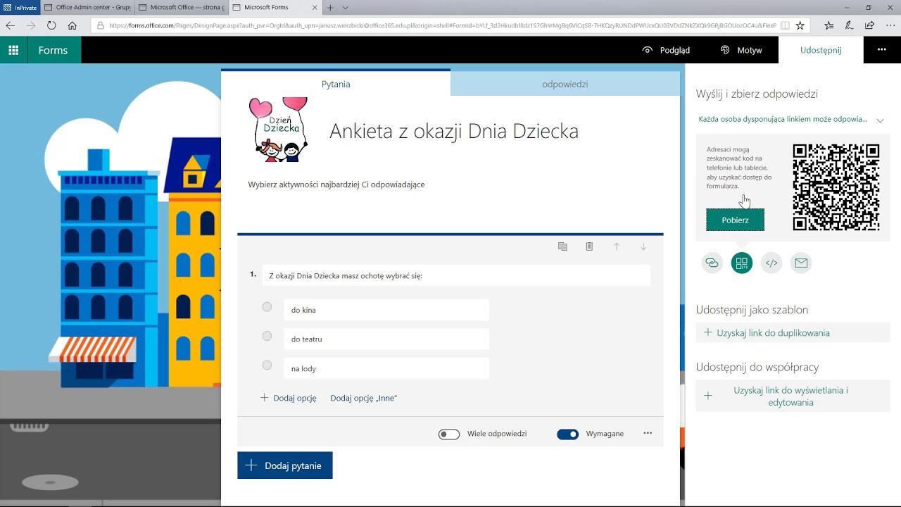 Office 365: Forms - ankiety i testy - Tworzenie i udostępnianie wyników ankiety - YouTube