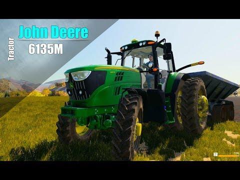 Farming Simulator 2019. AMERICAN OUTBACK. Tractor JOHN DEERE 6135M. Spreader MVU-8