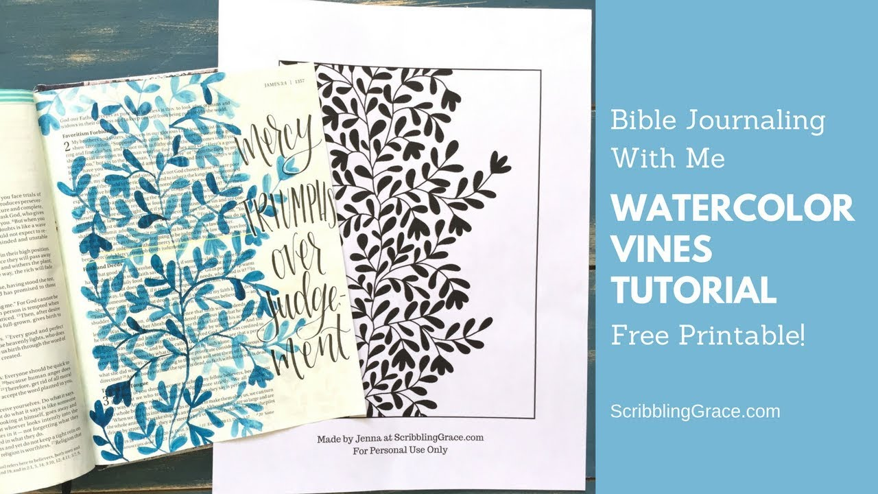 Bible Journal With Me- Blue Vines Tutorial- Plus A Free Printable