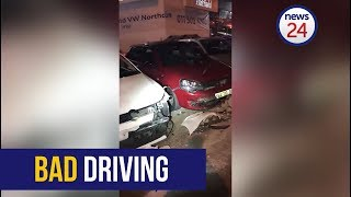 WATCH: Drunk driver ploughs into row of cars at Joburg Volkswagen dealership