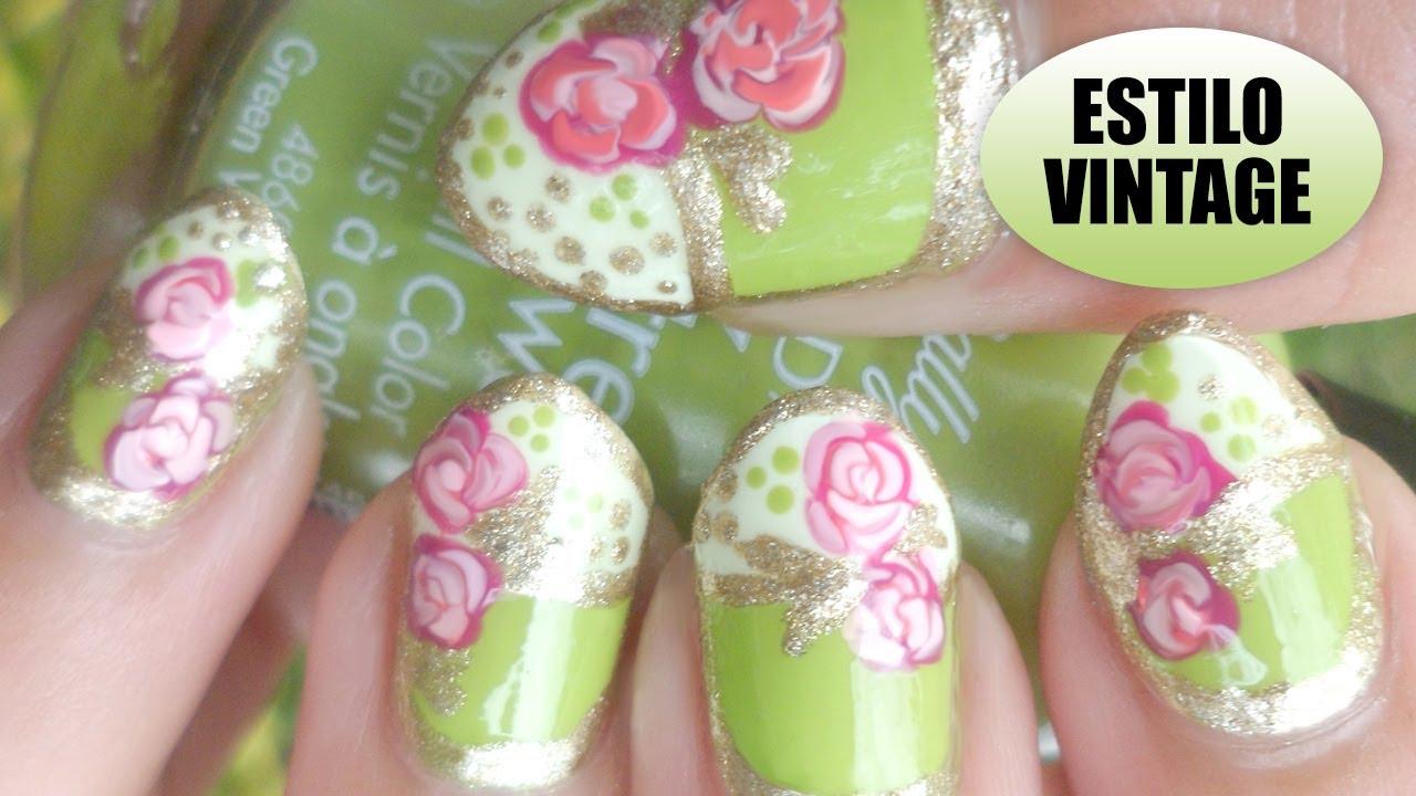 Nail Art - Diseño de uñas Verde y Dorado Estilo Vintage - YouTube