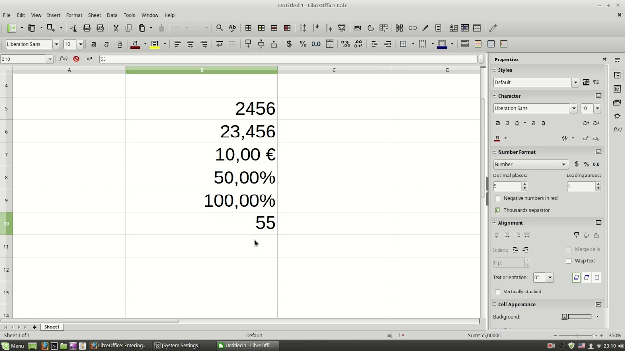 LibreOffice: Formatting Data